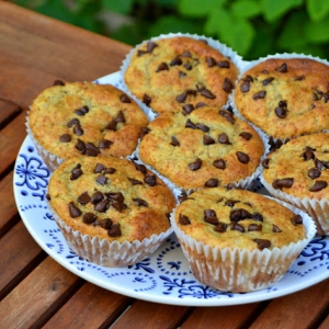 Muffins de Banana e Pepitas de Chocolate