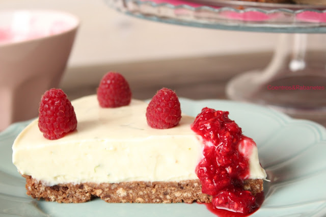 Bolo frio de queijo, lima e framboesa | No-bake lime and raspberry cheesecake