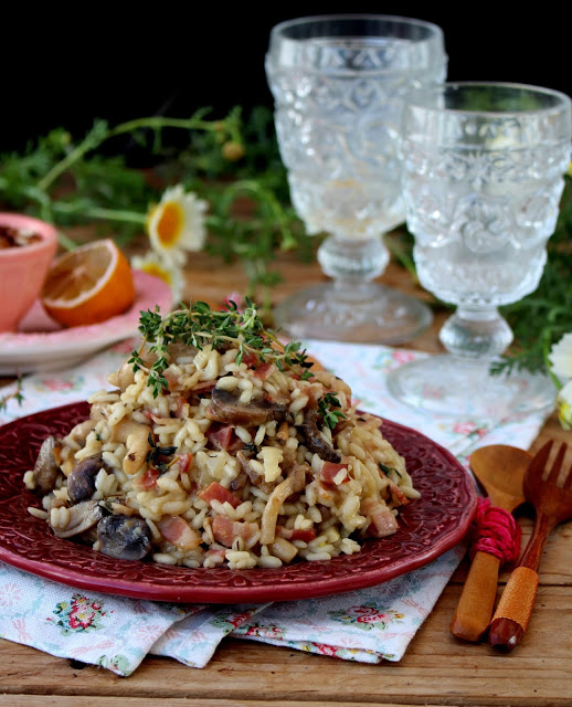 Risotto de Cogumelos com Bacon