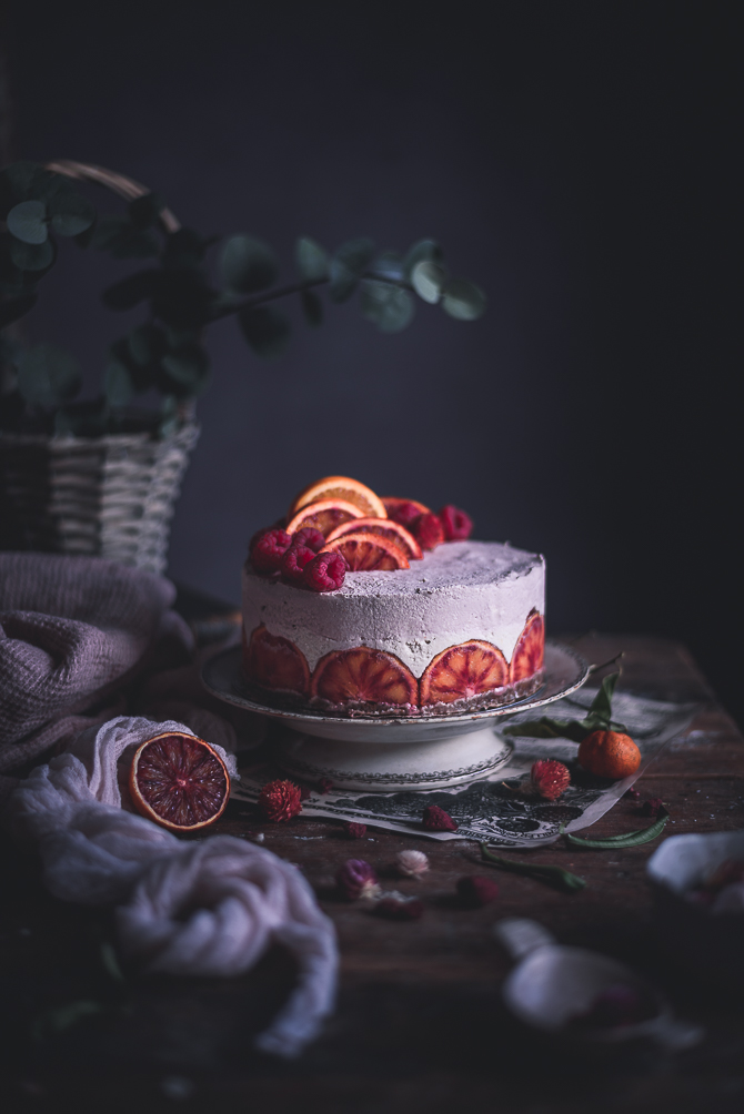 Cheesecake vegan de laranja sanguínea e framboesa // Blood orange & raspberry vegan cheesecake