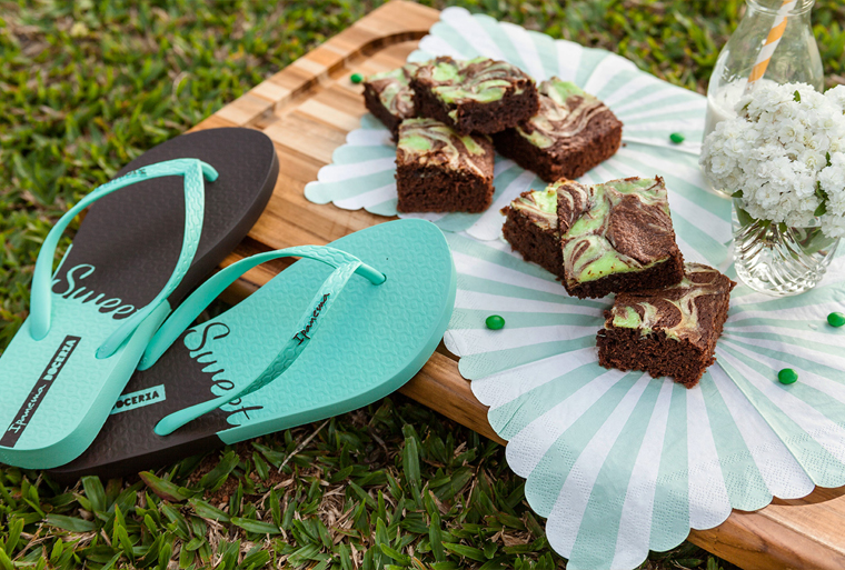 brownie mármore de chocolate e menta