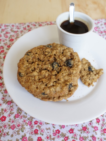 cookies de aveia com blueberry