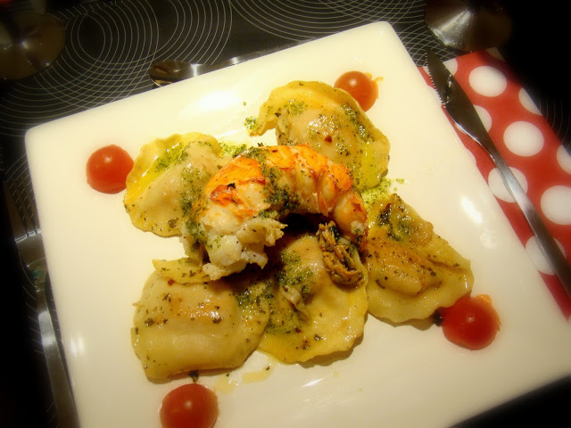 Lagosta com Raviolis em Molho de Manteiga, Limão e Whisky / Lobster and Ravioli in Butter, Lemon and Whisky Sauce
