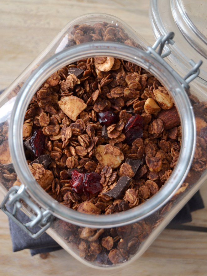 Granola de chocolate com frutos vermelhos // Chocolate granola with red berries