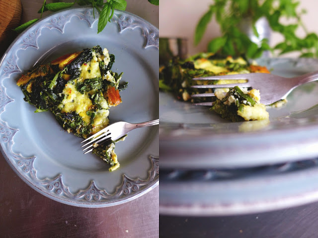 Frittata de grelos e queijo fresco/ Turnip greens and fresh cheese frittata