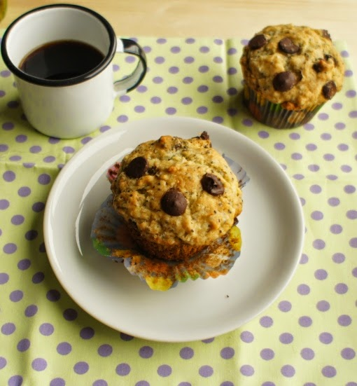 muffin de banana, chocolate e chia