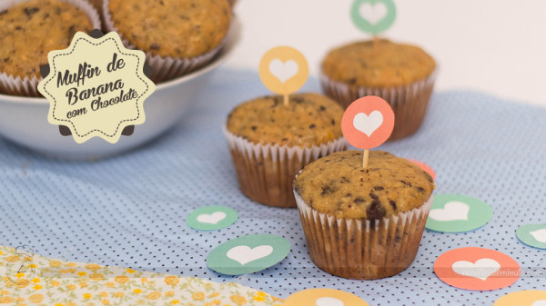 Muffin de Banana com Chocolate