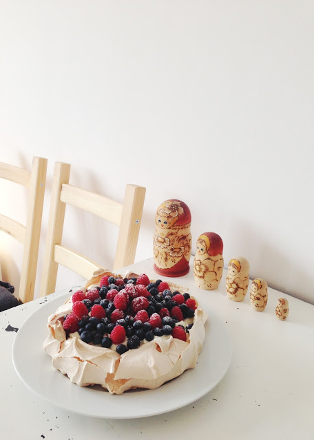 dancing in the clouds. { cream filled berry pavlova }