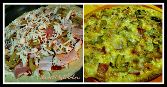 Pizza de bacon e cogumelos