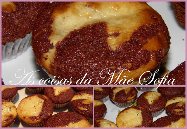 Queques de chocolate e cheesecake / Chocolate and cheesecake muffins