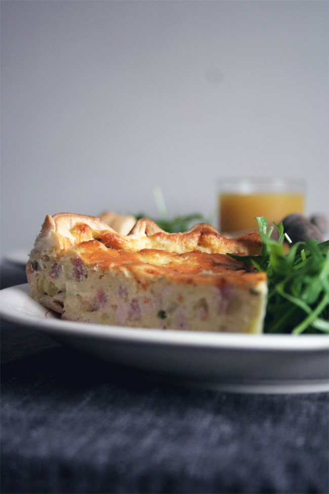 Quiche de batata e bacon/ Bacon and potatoes quiche