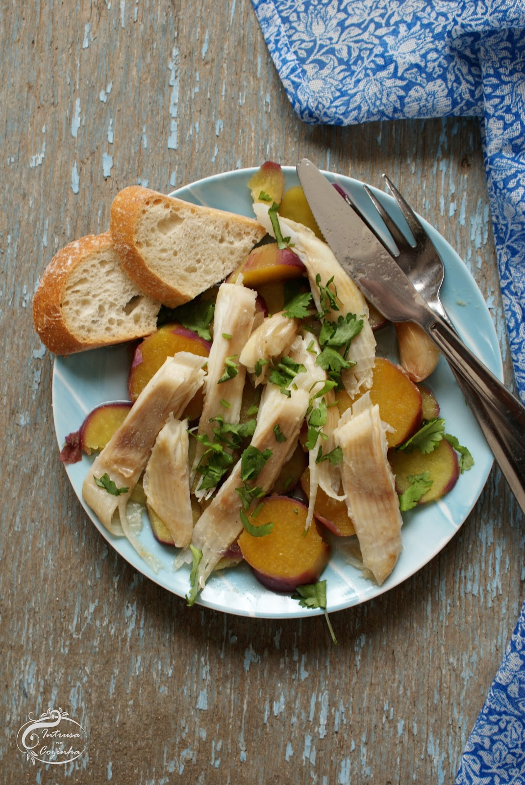 Raia Escalfada com Batata Doce {Poached Ray Fish with Sweet Potatoes}