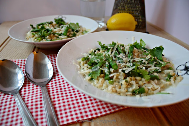 Risotto de cevada com espargos e limão/Barley risotto with aspargus and lemon