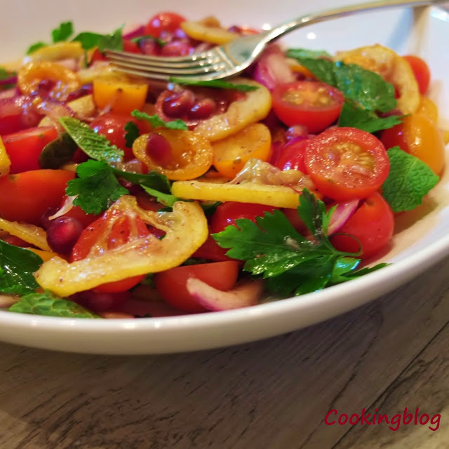 Salada de tomate e limão assado | Tomato and roasted lemon salad