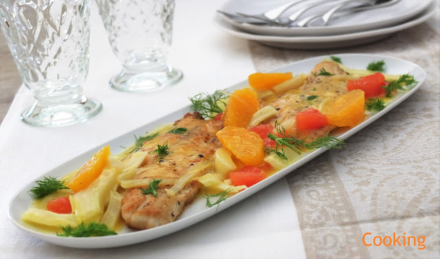 Robalo com funcho e laranja | Sea bass with fennel and orange
