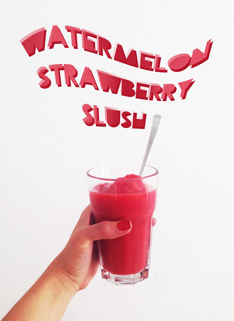 let me introduce you your new favourite everyday summer treat { watermelon-strawberry slush }
